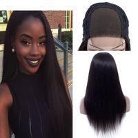 10-24 Inç 250% Yoğunluk İnsan Saç Dantel Ön Peruk Düz brezilyalı Virgin İnsan Saç 4x4 Dantel Kapatma Ücretsiz Bölüm Orta Kısmı Peruk