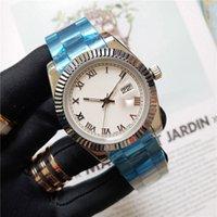 오토매틱 기계식 남성용 시계 날짜 41mm 스테인리스 스틸 고급 시계 실버 스트랩 화이트 데일 로마 숫자 그냥 데일리 망 손목 시계