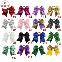 8Inches Girl Sequin Hair Ring Kids Large Bow Hairbands Solid...