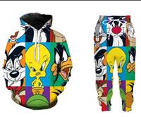 Toptan - Yeni Moda Erkek / Kadın karikatür Looney Tunes sweatshirt Koşucular Komik 3D Print Unisex Kapüşonlular + Pantolon ZZ030