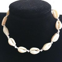 Shell Choker Necklace Rope Chain Natural Collar Necklace Boh...