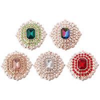 5pcs / lot nouvelle attache rapide bijoux strass fleur 18mm Bouton Bijoux DIY Bracelet pour les femmes fille cadeau 3078