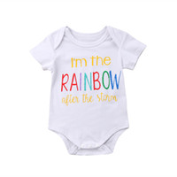 0-18M الوليد كيد الرضع طفل الفتيان الفتيات rainbow السروال القصير بذلة ملابس الصيف المطبوعة الأبيض الصلبة jumplsui outfitst