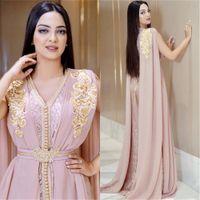 Nuevo rosa rosado con cuentas Muslimes Largos Vestidos de noche de lujo Dubai Marruecos Kaftan Vestido Chiffon V Cuello Vestido formal Vestidos de fiesta de la noche