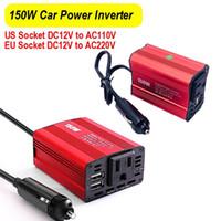 150W عاكس السلطة العاكس العاكس DC 12V إلى AC 110V / 220V 2.1A المزدوج منافذ USB شاحن سيارة محول