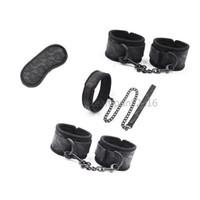 Restraint Esponja Algemas de Pulso tornozelo Algemas pescoço Collar Leash Set Fantasia Brinquedo novo AU65