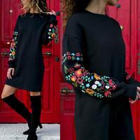vente chaude Robe Femmes imprimé floral à manches longues O-cou lâche mince sexy chaud robes multicolore noir élégant mujer Automne 2019 LYQ367
