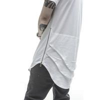 T-shirts hommes en gros t-shirt prolongé hommes Fishtail Multi pli Courbbed ourlet fermeture fermeture à glissière Été à manches courtes à manches longline chemises HOP HOP