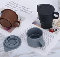 10 oz silicone pliable réutilisable Tasses à café Pliable tasse d'eau avec couvercle réutilisable portable pliant Camping Tumbler extensible Tasse GGA3420