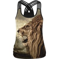 Women Sport Vest Lion 3D Printed Femme Yoga Shirt Slim Runni...