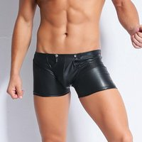 Sexy Men Faux PU Leather Boxers Shorts Wetlook Erotic Trunks...