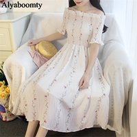 Elegant Summer Sweet Party Women Midi Dress Slash Neck Flora...