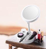 الإبداعية التي تقودها الماكياج المدمجة مصباح مرآة مزدوجة المرآة الجانبية القابلة للطي 10xpius1x بالجملة متعددة الوظائف