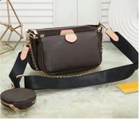 Designer Handbags Luxury Borses Women Preferito Mini Pochette 3pcs Accessori Borsa a tracolla Vintag Borse a tracolla in pelle rosa Cinghie di colore