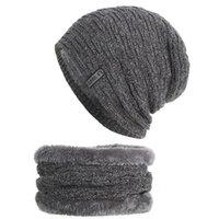 6 colores de invierno de punto de los hombres gorros de lana con pañuelo a prueba de viento más gruesa de terciopelo elástico y transpirable sombrero caliente suave del partido Caps DH0771 T03