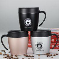 Zooobe Taza de café Termo de acero inoxidable con aislamiento de agua Vasos vaso con asa tapa y cuchara de mezcla de viaje de oficina taza de café C19041302