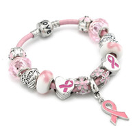 Рак молочной железы Осведомленность Pink Ribbon кулон браслет Love Heart Flower Charm Beads Браслеты Браслеты Украшения для Дня подарков Женщины Матери