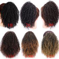8 polegadas com cordão Puff Afro Kinky Curly rabo de cavalo Africano curtos americano envoltório clipe sintético no cabelo rabo de cavalo das extensões do cabelo AISI
