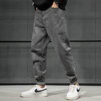 Erkek kot moda streetwear erkekler retro siyah gri gevşek fit harem pantolon eklenmiş tasarımcı Kore tarzı hip hop kalem