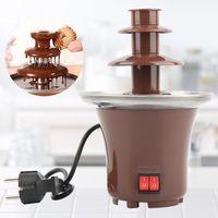 Neue Mini-Schokoladen-Brunnen drei Schichten Kreative Design Schokoladen-Schmelze mit Heizung Fondue-Maschine DIY Mini-Wasserfall Hotpot