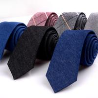 새로운 남성의 비즈니스 넥타이 체크 치노 캐주얼 넥타이 코튼 영국 웨딩 넥타이 고품질 순수 코튼 제한 프로모션 블루 블랙 11 색