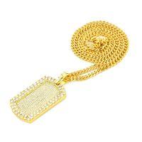 Мода-золото серебро Bling Dog Tag Army Card ожерелье цепь полный ледяной Алмаз хип-хоп рэпер кубинские цепи ювелирные изделия подарок для мужчин и женщин