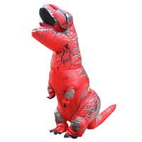 T-Rex Dinozor Şişme Kostüm Cadılar Bayramı Blow up Suit Kırmızı Maskot Kostüm Yetişkin için