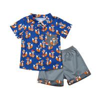 1-7T Kleine Jungen-Sommer-beiläufige Kleidung stellten Kleinkind-Kind-Junge-Kleidung Fox T-Shirt Tops + Shorts 2pcs Baby-Outfits Sets