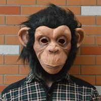 Máscara de Halloween: Máscara de mono de látex de cara completa de diamante de oreja grande y respetuosa con el medio ambiente para la fiesta de Halloween