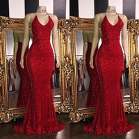 2019 Red Sparkling Sequins Mermaid Long Prom Dresses Halter ...
