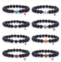 Hématite Naturel Noir Lava Pierre Perles Strand Bracelet élastique Bracelet essentiel Diffuseur Bracelets Volcanique Rocher Cordes à la main perlée