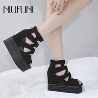 Wedge Sandals Mulheres NIUFUNI Platform Peep Toe Ladies Sandals Zipper Ultra 14cm Salto Alto Casual sapatos para as mulheres Sandales femme