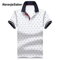 NaranjaSabor Men's Tops Summer Tees Cotton Printed Shirts Mens Brand Clothing Short Sleeve Camisas Stand Collar Male Shirt N491