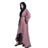 저녁 Abaya Maxi Dress 무슬림 여성 두바이 스타일 여성 오픈 프론트 Kaftan Abaya 무슬림 카디건 길밥 레이스 가운 드레스 Z411