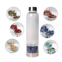 Botella de cristal natural del cristal de cuarzo triturado Agua Botellas de cuarzo obelisco Varita Energía curativa cabeza de acero inoxidable