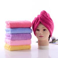 6 colores Tapas de ducha suaves Toalla Magia Secado rápido Toalla de microfibra de cabello Turbante cómodo Abrigo Sombrero Gorras Spa Gorras de baño DH0446 T03
