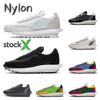 Stock X Sacai LDV Waffle black white Nylon running shoes gre...