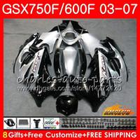 Suzuki Katana için Vücut GSXF750 GSXF600 2003 2004 2005 2006 2007 Simli BLK 3HC.13 GSX600F GSX750F GSXF 600 750 03 04 05 06 07 PERSERING Kiti