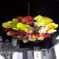 Luces de techo sopladas a mano de alta calidad Art Decorative Flower Chandeliers Luz Italiana Murano Placas de vidrio Colgante Lámparas de araña