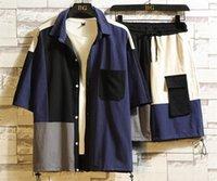 Кардиган костюмы лоскутное конструктора Карманные рубашки Брюки 2pcs одежда Комплекты Mens отворотом шеи Одежда Мужская мода
