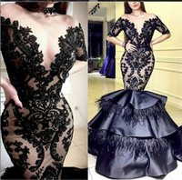 Black Lace Mermaid 2019 Arabic Evening Dresses Sheer Neck Fe...
