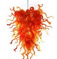Meilleures ventes Fancy Light Chandelier Pendant Light Couleur Orange en verre de Murano Lustre pour le salon Art Déco