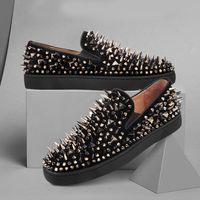 Diseñador Casual Spikes Shoes Mocasines 100% cuero real Fondo rojo Slip On Plataforma Casual Spikes zapatillas Wedding Party Flats Shoes SZ 5-12