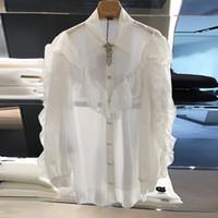 تصميم جديد المرأة رفض طوق نجمة حجر الراين شرابة دبوس المرقعة طويلة الأكمام الكشكشة الأبيض الشيفون بلوزة قميص قمم زائد حجم l xl