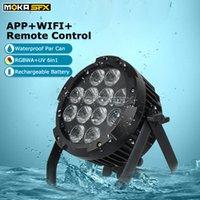 Новый 12 * 18w 6in1 водонепроницаемый пар свет RGBWA + UV LED батареи Беспроводной Wi-Fi LED Par Light Disco Professional Stage Light Effect