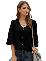 Size S to 2XL Women Plus Size V Neck Chiffon Blouse Bell Sle...
