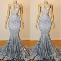 Vintage Silver Sequin Mermaid Prom Party Dresses 2019 Sexy K...