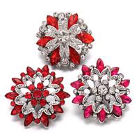 6pcs / lot neue Snap Schmuck Armbänder Red Strass 18mm Blume Druckknöpfe passende Armbänder für Frauen Austauschbare Schmuck