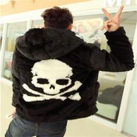 Siyah sokak moda Erkekler Faux Fur kafatası kafa kürk hoody ceketler hip hop moda Yapay kürk ceketler