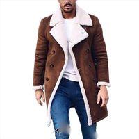 2020 Abrigo de piel paño grueso y suave de la nueva manera Fosa de los hombres del invierno abrigo masculino de solapa caliente mullido largo de Brown del estilo de vestir exteriores de la chaqueta más el tamaño
